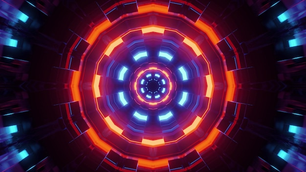 3d illustration of vivid multicolored neon circles with optical illusion effect as abstract geometrical futuristic  design