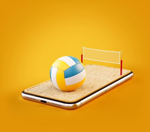 3d illustration of a volleyball ball and on court on a smartphone screen