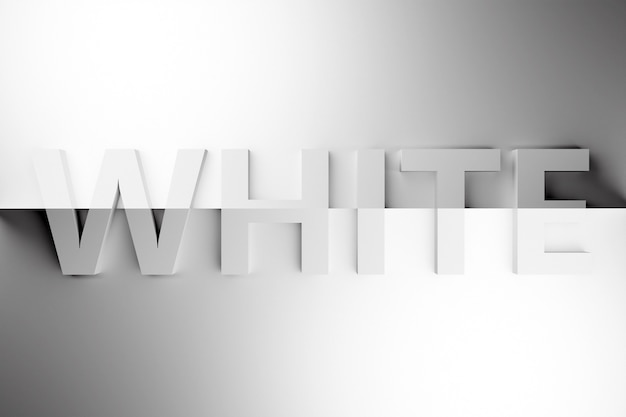 3d illustration volumetric inscription in white gray letters on a bright  gray gradient isolated background. color symbol