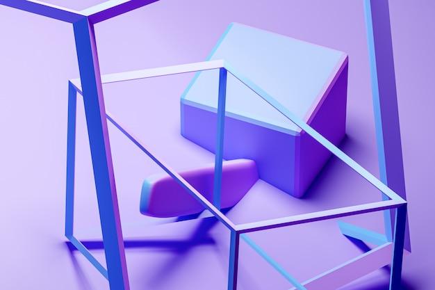 3d 그림 기하학적 monophonic에 체적 분홍색과 파란색 큐브.