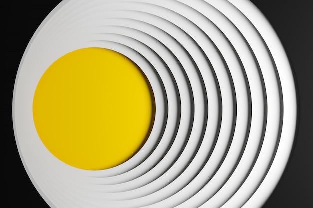 3 dイラストレーション容積測定の黄色と白の船、幾何学的なモノフォニック背景にボール。平行四辺形パターン。技術幾何学ネオンの背景