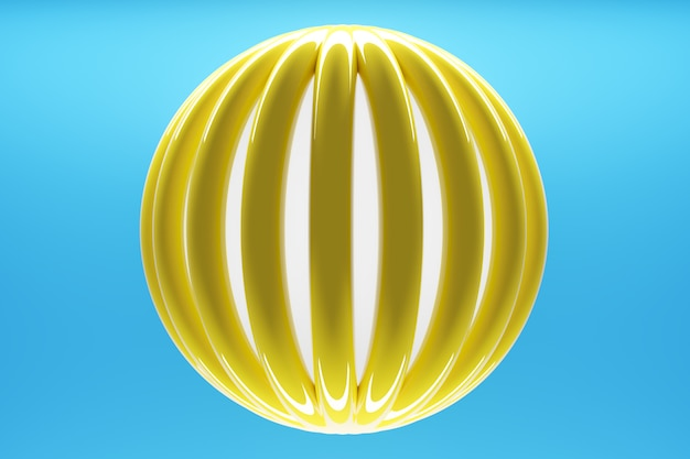 3d illustration volumetric yellow sphere layers on a geometric monophonic background.