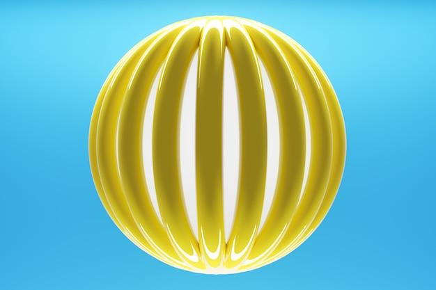 幾何学的なモノフォニック背景の3dイラストボリューム黄色球レイヤー。
