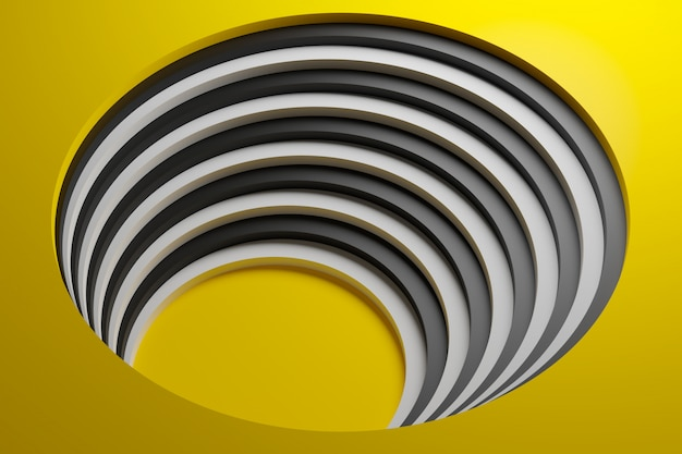 3d illustration volumetric yellow and white shipe, ball on a geometric monophonic background.