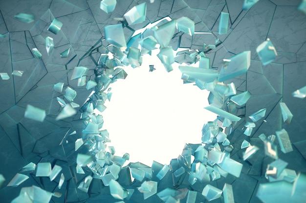 3d 그림 작은 조각으로 산산조각이 중심에 구멍이 얼음 벽. 배너, 광고를위한 장소입니다. 폭발은 벽에 균열을 일으켰습니다. 얼음 금이 간 벽에 폭발 구멍입니다.