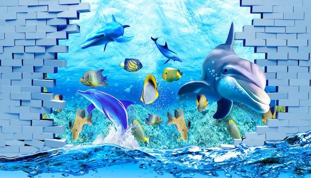 깨진 벽과 바다 돌고래 물고기 거북이 산호초 모래 물 아래 3d 그림 벽지
