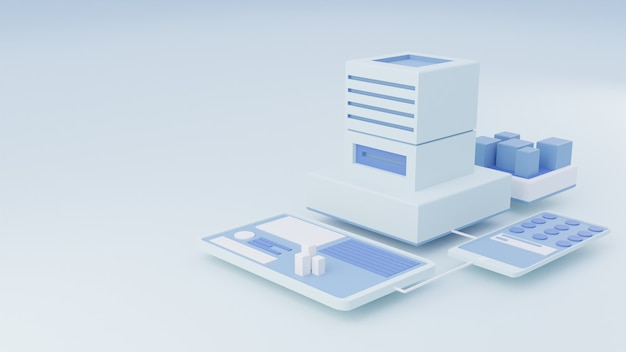 3d illustration website isometric in bright white color