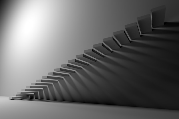 3d illustration white ascending staircase goes up in an empty white room.