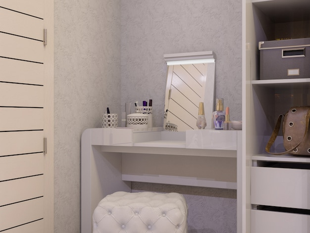 3d illustration of a white bedroom in modern style