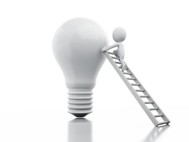 3 dイラスト白いビジネスマンの人々は梯子から巨大な電球を登ります。
