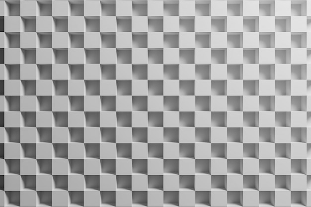 3d illustration white checkered geometric pattern of pyramids.