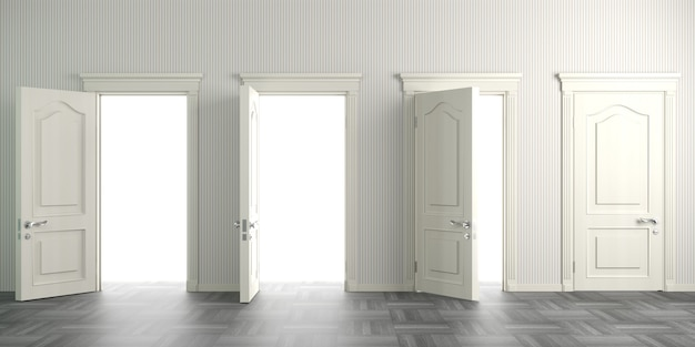 3d illustration. white classic doors in the hall or corridor. background interior.