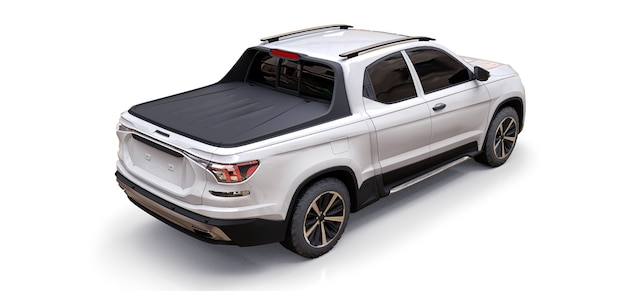 3d illustration of white concept cargo pickup truck on white isolated surface
