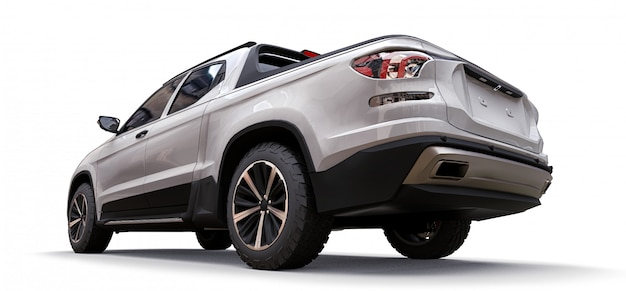 3d illustration of white concept cargo pickup truck