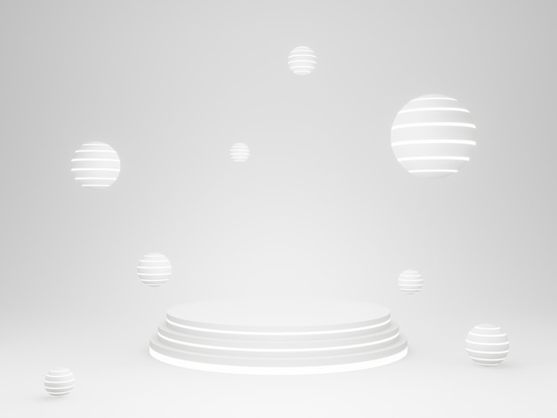 3d illustration. white geometric product stand with neon light.