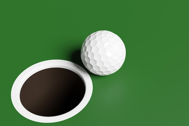3d illustration of a white golf ball near the hole on the playing field