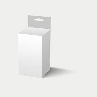 3d illustration white hang slot packaging box isolated on white background. suitable for your project element design.