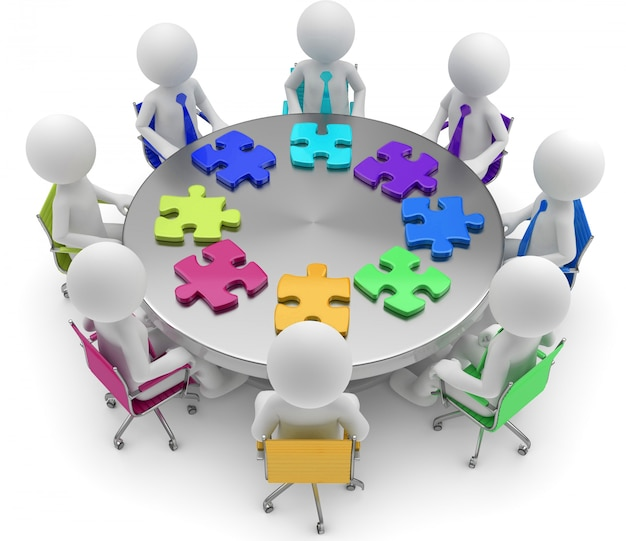 3d illustration of white male puzzle on round table