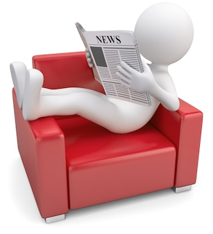3d illustration white male reading newspaper on the sofa