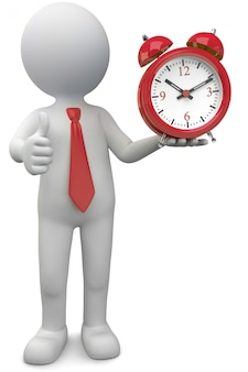 3d illustration white male with alarm clock