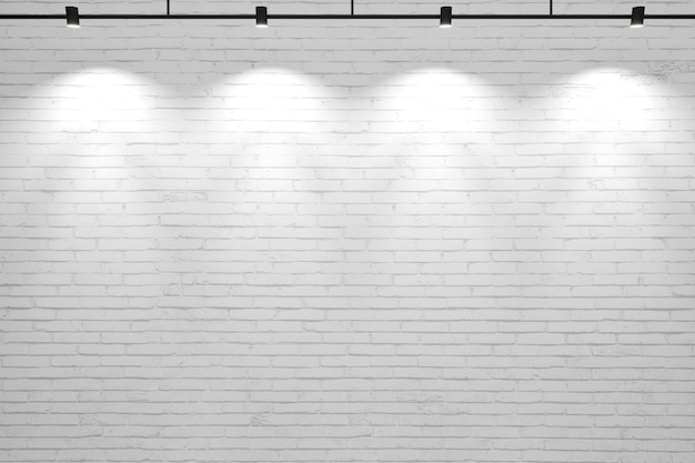 3d illustration. white old background brick wall with lamps.