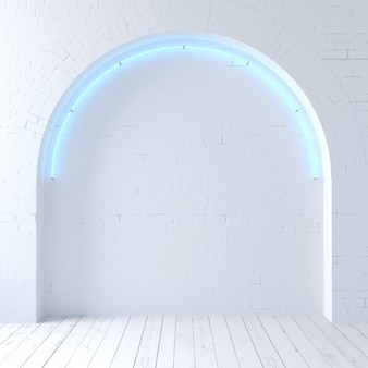3d illustration. white old brick arch loft with neon. background wall banner or meme