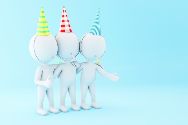 3d illustration. white people celebrating a birthday with blower and hat.