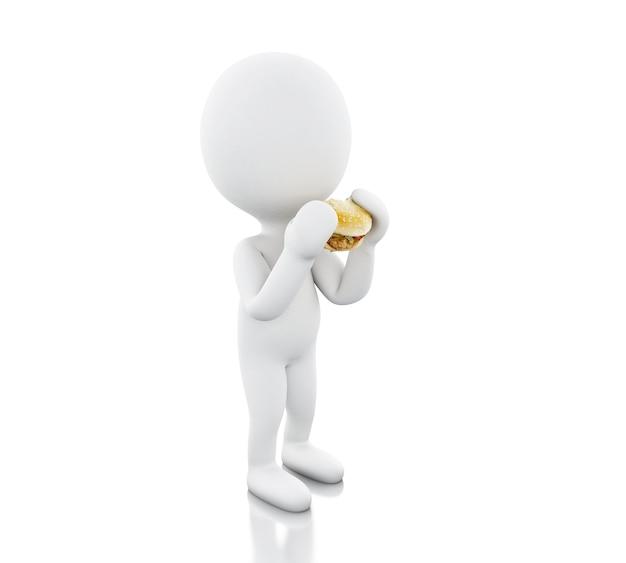 3dイラストレーション。白人は大きなハンバーガーを食べる。食品コンセプト。