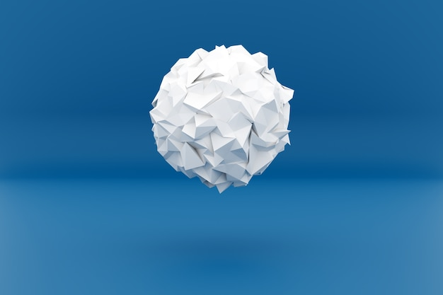 3d illustration of a white shape, consisting of a large number of crumpled pape .