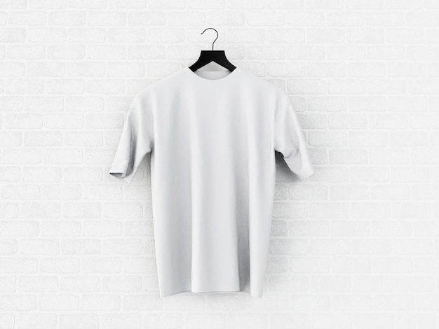 3d illustration white t-shirt, mockup.