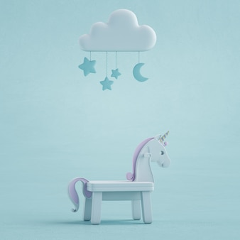 3d illustration of white toy unicorn on concrete texture floor.