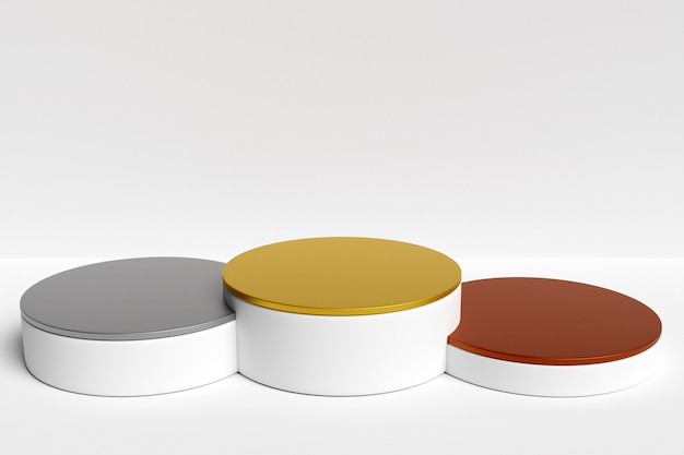 3d illustration of a white winners round podium with spotlights on white isolated background.