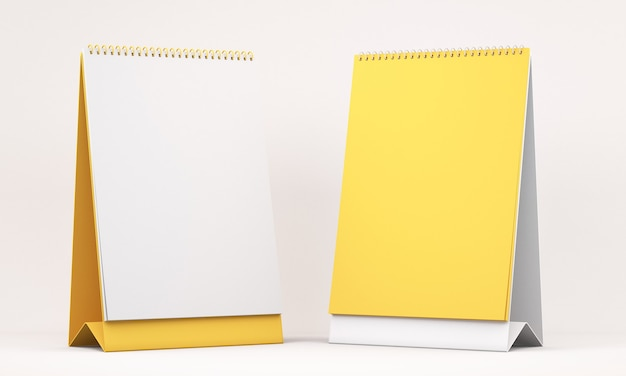3d illustration of white and yellow blank calendar on white background