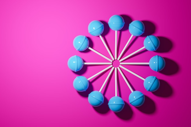 3d illustration with  blue candy  on a pink background.
