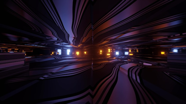 3d illustration with effect of moving through dark futuristic tunnel with glowing neon lights and reflections for abstract sci fi background