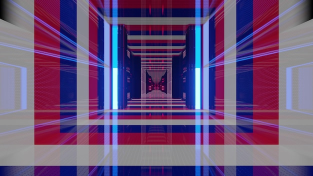 3d illustration with endless glass tunnel with walls as flag of france in 4k uhd