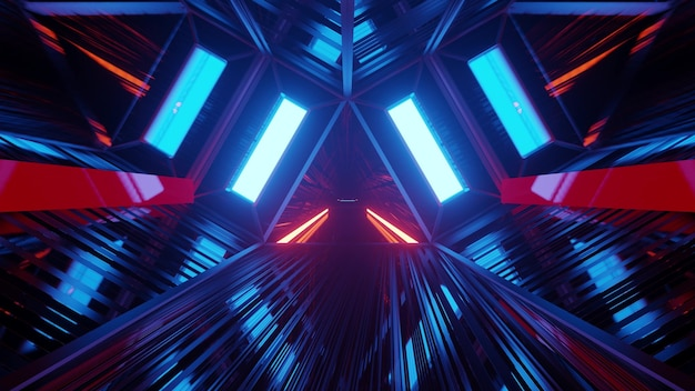 3d illustration with futuristic tunnel in triangle shape with blue neon illumination in 4k uhd