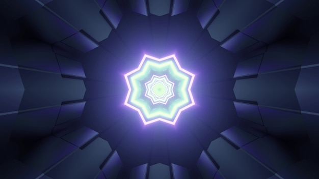 3d illustration with octagonal star shaped glowing neon pattern in center and symmetric rays on dark forming optical illusion of fantastic tunnel with futuristic geometric design