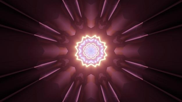 幾何学的なデザインと暗い表面に反射するネオン照明を備えた無限の未来的なトンネルの光沢のある金色と紫色のフレームの3dイラスト
