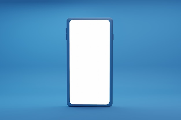 3d illustration with a smartphone isolated on blue background