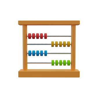 3d illustration of wooden abacus with colorful beads. abacus with colorful wooden beads.