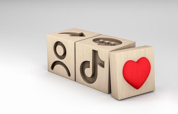 3dイラスト、刻まれたtiktokアイコンと木製の立方体