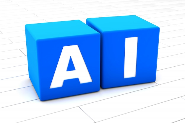 3d illustration of the word ai