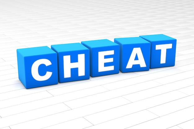 3d illustration of the word cheat