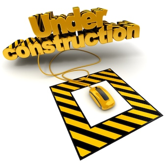 3d illustration of the word under construction connected to a computer mouse with black and yellow stripes