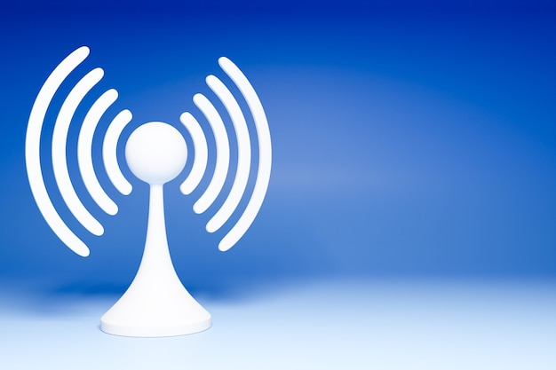 3d illustration of a working cellular connection wi-fi, 4g and  5g on a blue background.  icon for mobile phone or smart device.