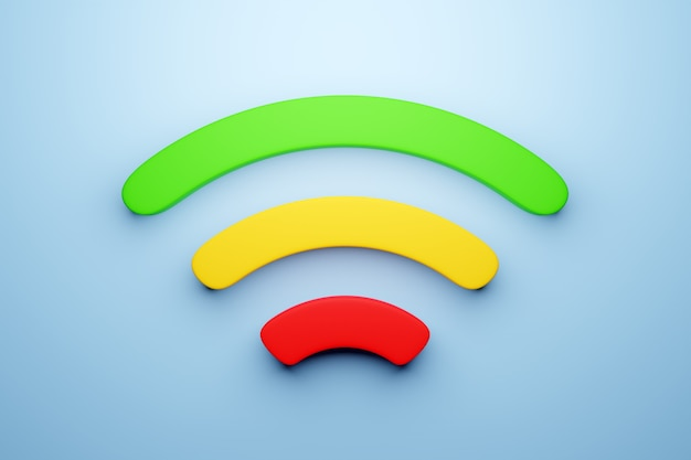 3d illustration of a working cellular connection wi-fi on a blue background.  icon for mobile phone or smart device.