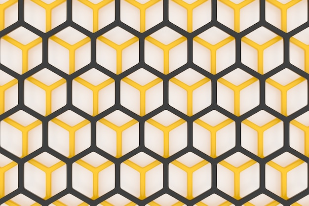 3d illustration of a yellow and black honeycomb monochrome honeycomb for honey.