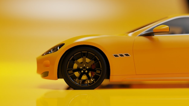 3d illustration of yellow car on a yellow surface