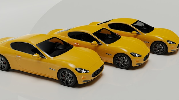 3d illustration of yellow cars on a white surface
